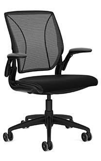 Diffrient World Chair, Monofilament Stripe Black Back, Corde 4 Black Seat