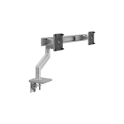 M8.1 Monitor Arm with Crossbar, Two-Piece Clamp Mount Base, Silver with Gray Trim