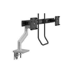 M8.1  Monitor Arm with Crossbar and Handle, Two-Piece Clamp Mount Base, Silver with Gray Trim