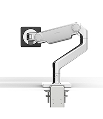 M8.1 Monitor Arm with Two-Piece Clamp Mount Base, Polished Aluminum with White Trim
