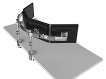 Para/ Flex 2 with Adjustable Crossbar for up to 4 Monitors, Clamp  Mounts, Silver with Gray Trim