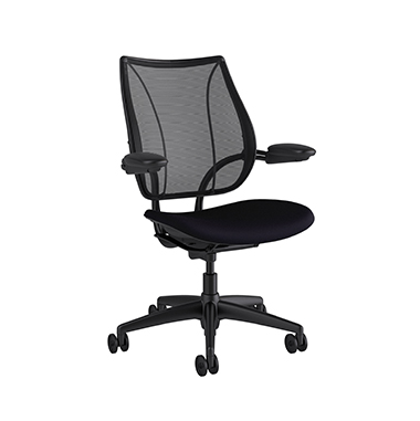 Liberty Task Chair, Monofilament Stripe Black Backrest, Corde 4 Black Seat