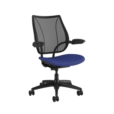 Liberty Task Chair, Monofilament Stripe Black Backrest, Corde 4 Thalo Seat