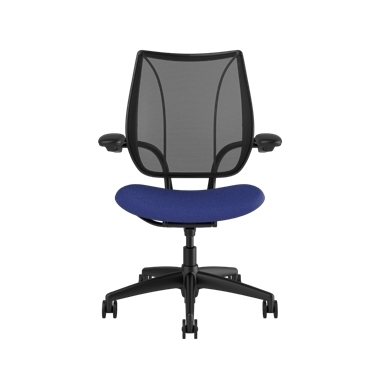 Liberty Task Chair, Monofilament Stripe Black Backrest, Corde 4 Thalo Seat Picture 2
