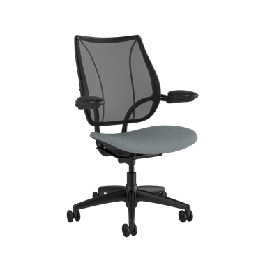 Liberty Task Chair, Monofilament Stripe Black Backrest, Corde 4 Medium Gray Seat