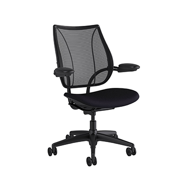 Liberty Task Chair, Monofilament Stripe Black Backrest, Fourtis Black Seat