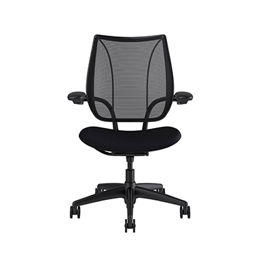 Liberty Task Chair, Monofilament Stripe Black Backrest, Fourtis Black Seat Picture 2
