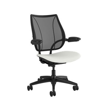 Liberty Task Chair, Monofilament Stripe Black Backrest, Lotus White Seat