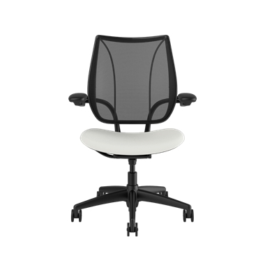 Liberty Task Chair, Monofilament Stripe Black Backrest, Lotus White Seat Picture 2