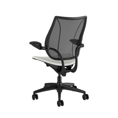Liberty Task Chair, Monofilament Stripe Black Backrest, Lotus White Seat Picture 3