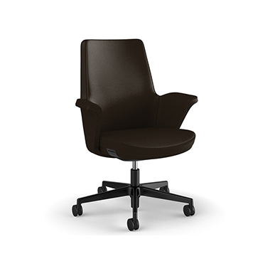 Summa Chair with Upholstered Leather Back in Umber - Ticino (Chrome-Free Leather)