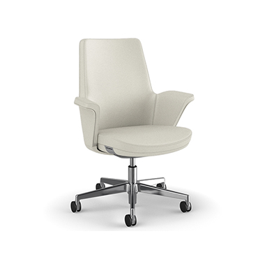 Summa Chair with Upholstered Leather Back in Glacier - Ticino (Chrome-Free Leather)