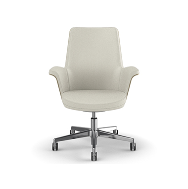 Summa Chair with Anegre Wood Back and Glacier - Ticino (Chrome-Free Leather) Picture 2