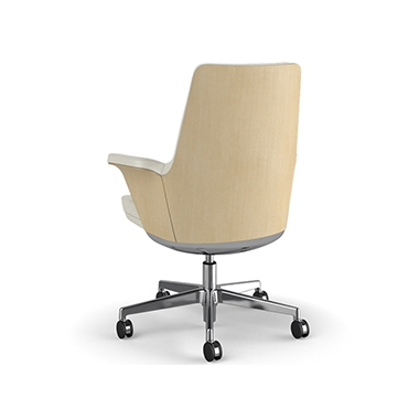 Summa Chair with Anegre Wood Back and Glacier - Ticino (Chrome-Free Leather) Picture 3